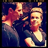 Dohring and Majorino caught up between scenes. Source: Instagram user theveronicamarsmovie