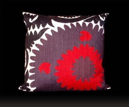 Etsy Find: Red/Purple Quarter Whorl Suzani Pillow