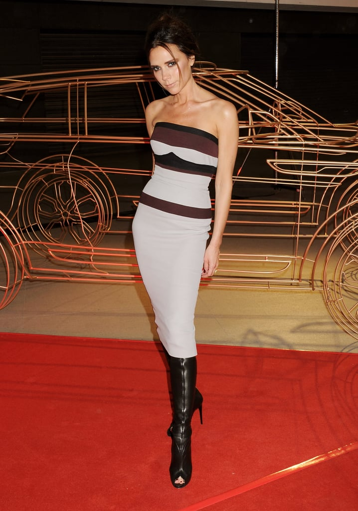 Wearing a Skin-Tight Lavender Dress With Leather Boots