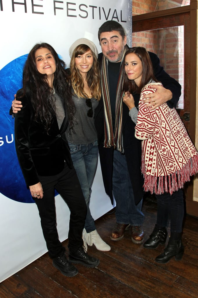 Alfred Molina, Jessica Biel, Francesca Gregorini, and Kaya Scodelario got close for a photo at Sundance on Friday.