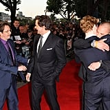 Hugging it out with Benedict Cumberbatch at the Tinker, Tailor, Soldier, Spy London premiere in 2011.