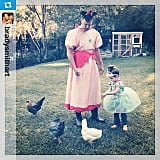 Harper Smith and her costume-clad dad looked very formal for feeding their chickens. Source: Instagram user tathiessen