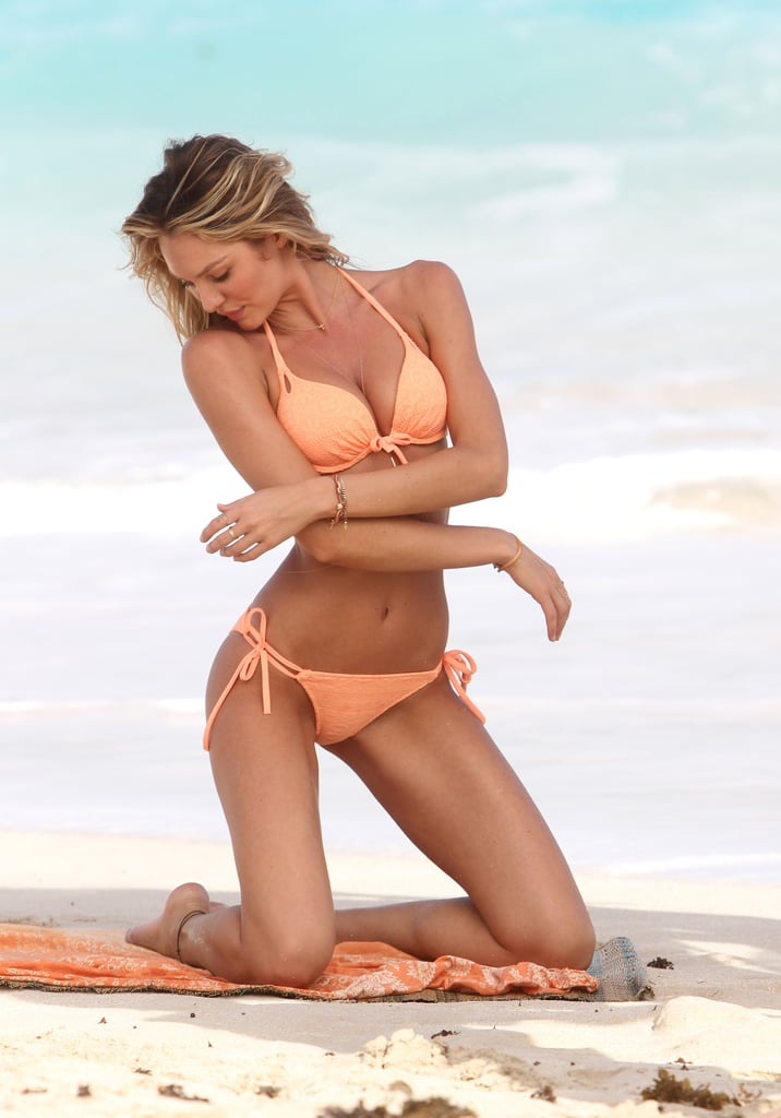 Candice Swanepoel modeled bikinis for Victoria's Secret.