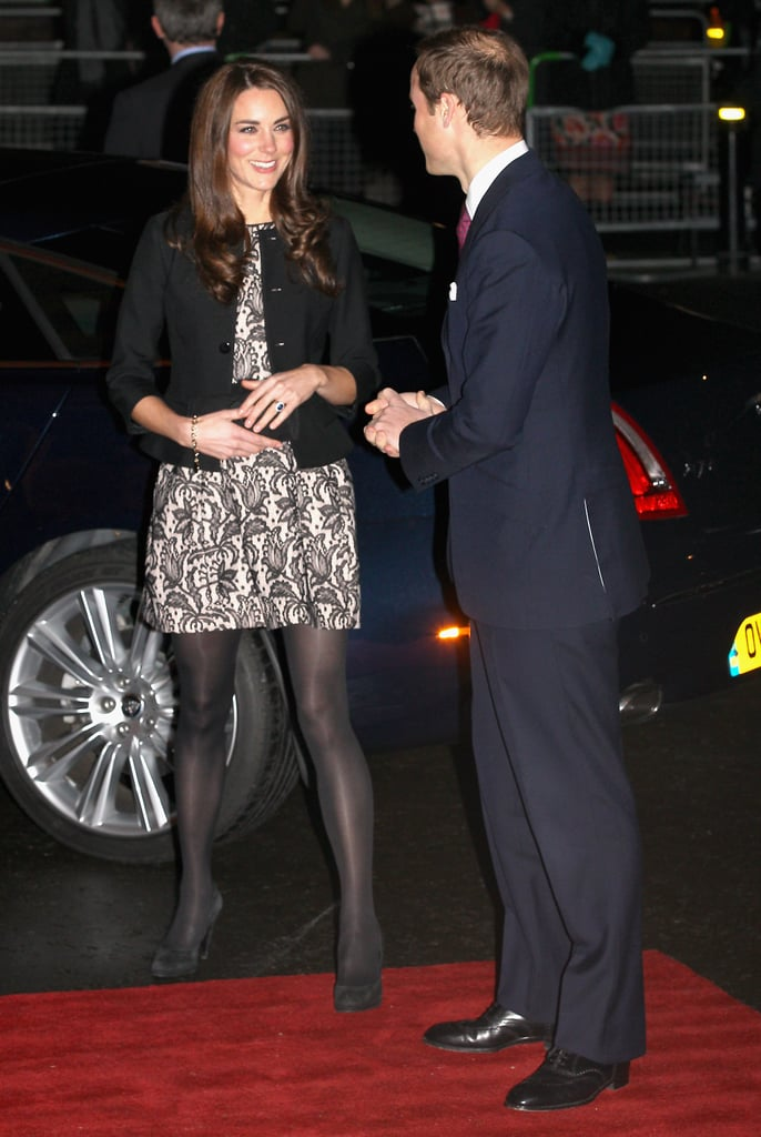 """Kate Middleton wore a black and tan dress from Zara and a Ralph Lauren jacket today for a special concert at London's Royal Albert Hall. She joined her husband, Prince William, and her in-laws Prince Charles and Camilla Parker-Bowles for a Gary Barlow show benefiting the Prince's Trust and the Foundation of Prince William and Prince Harry. Camilla was decked out in an ensemble from one of her favorite designers, Anna Valentine. Gary, who rose to fame as a member of the pop group Take That, apparently addressed Will, Kate, and the royals before commencing his performance. He said, """"Good evening to our beautiful royal family."""" He then went on to do a medley of Take That's greatest hits. Gary is also expected to welcome a few guests to the stage, including X Factor finalist Marcus Collins."""