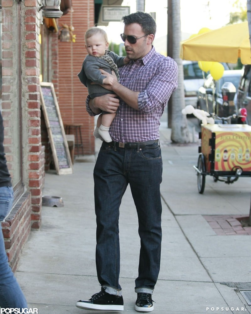 Ben Affleck carried baby Samuel Affleck during an afternoon out in LA in October.
