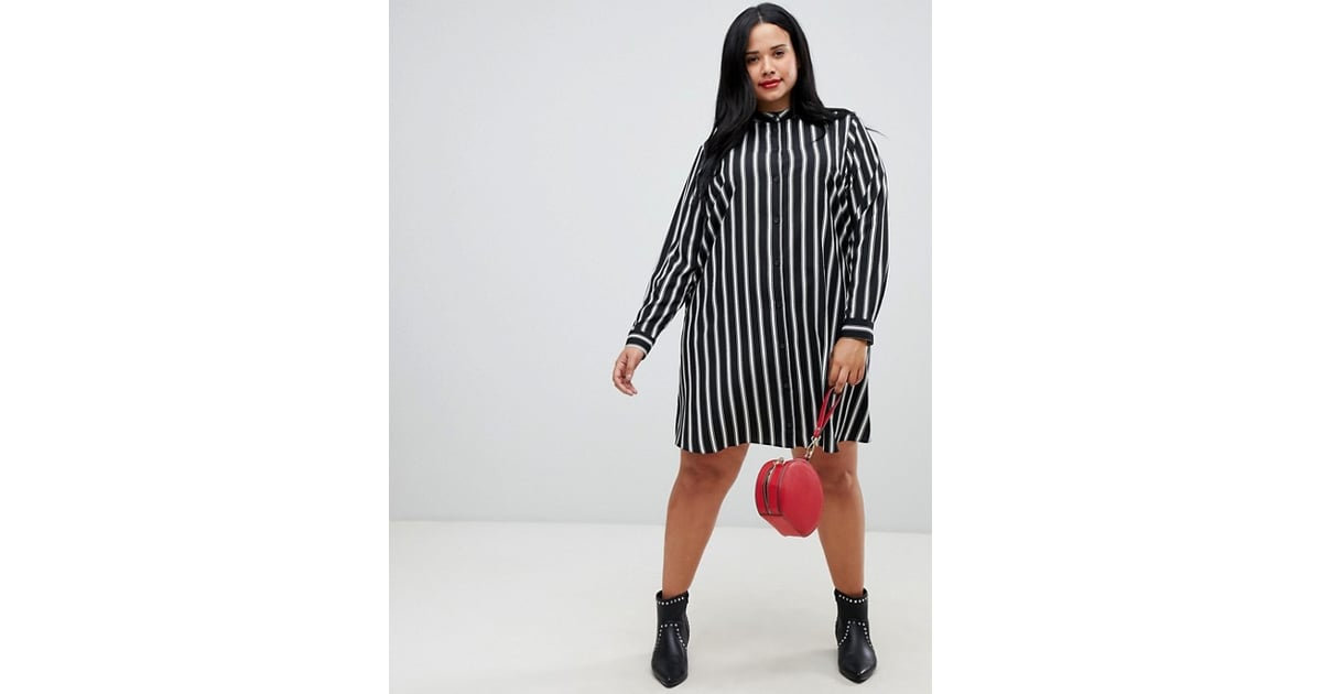75fe739eaa ASOS DESIGN Curve Mini Shirt Dress in Stripe With Long Sleeves ...