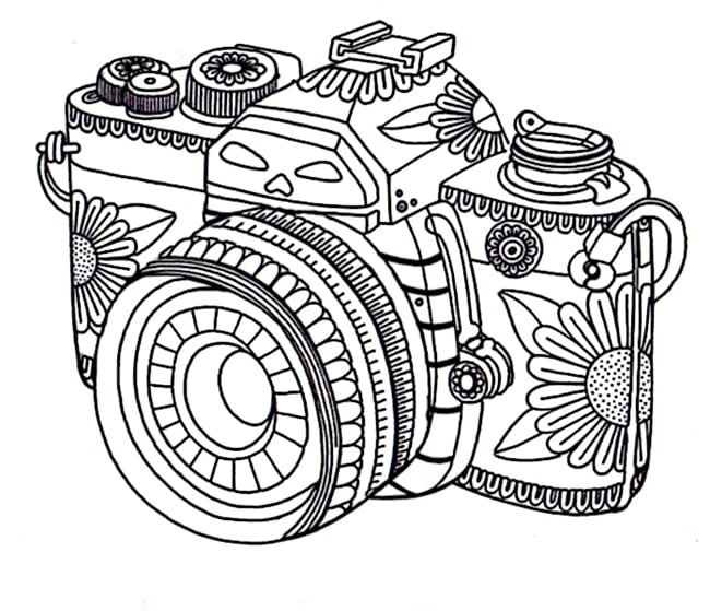 Get the coloring page: Camera | 50 Printable Adult Coloring ...