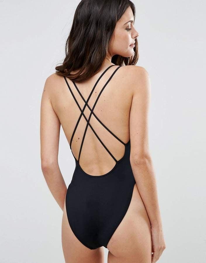 edf8afc2bca15 Asos Cross Back High Leg Swimsuit | Gabrielle Union's Black One ...