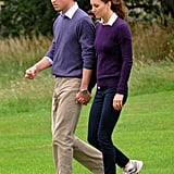 The couple walked hand in hand (in matching purple sweaters!) in Holyrod Park in Edinburgh in August 2011.