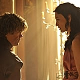 Peter Dinklage as Tyrion Lannister and Sibel Kekilli as Shae.