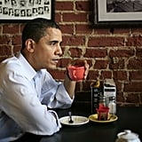 Sipping a cup of coffee during a campaign stop in Iowa in 2007
