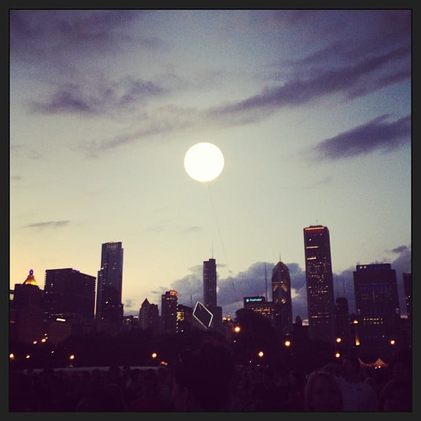 """The """"sun"""" sets on another successful festival season. Who needs a moon when you have a giant Lollapalooza balloon?  Source: Instagram user POPSUGARFashion"""