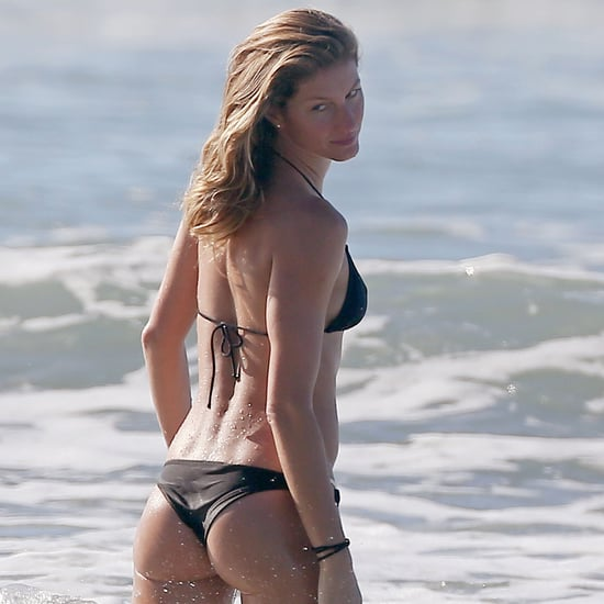 Gisele Bundchen in a Black Bikini With Her Sister 2014