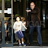 Pax Jolie-Pitt, Shiloh Jolie-Pitt, and Maddox Jolie-Pitt left the Ujbuda Center in Budapest, Hungary.