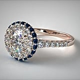 14k Rose Gold Sapphire Accented Falling Edge Engagement Ring
