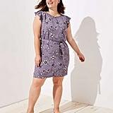 Loft Plus Lilac Garden Button Flutter Dress