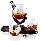 Globe Liquor Decanter Set With 2 Etched Whisky Glasses