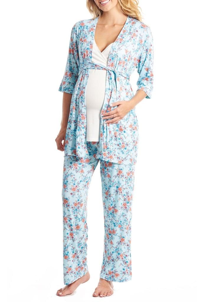 Floral Print Maternity and Nursing Pajama Set