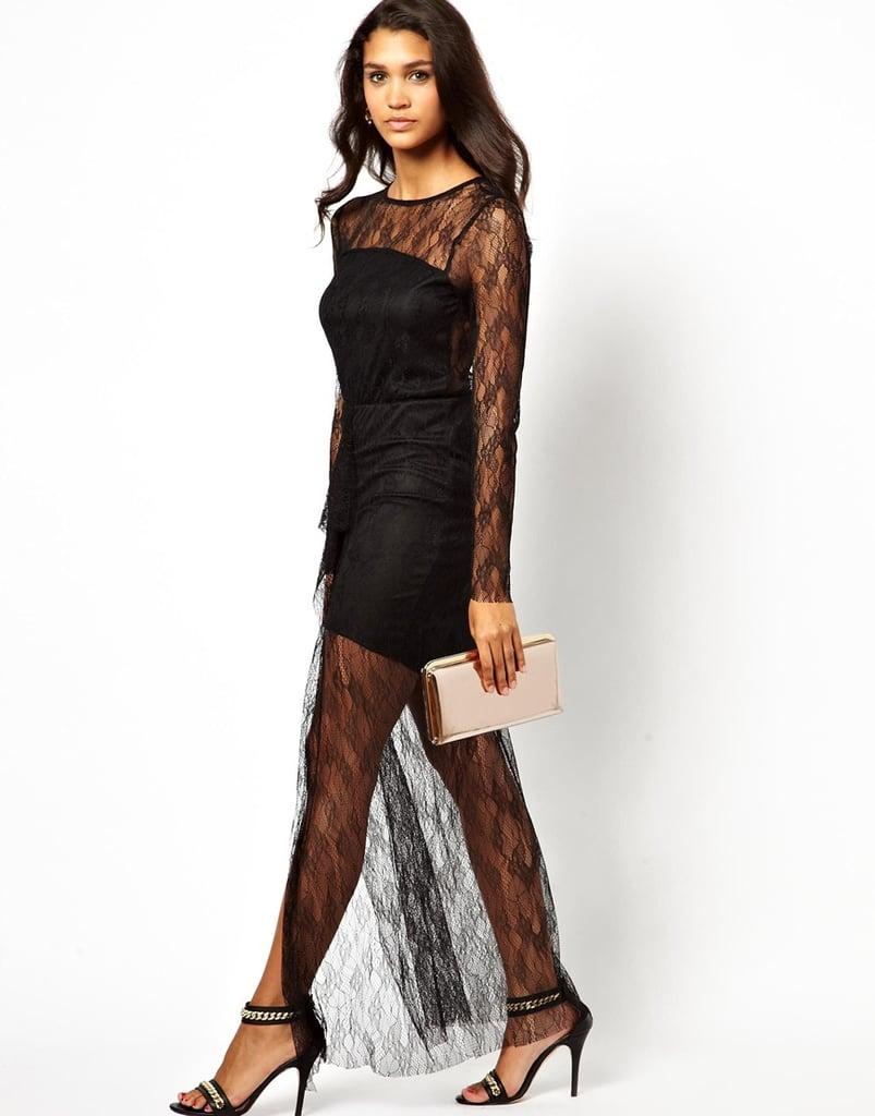 Pearl Black Lace Sheer Maxi Dress ($30, originally $122)