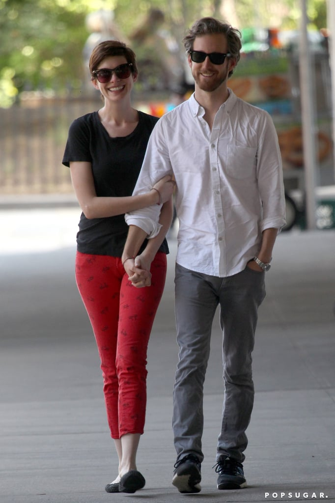 Anne Hathaway and Adam Shulman walked together in NYC.