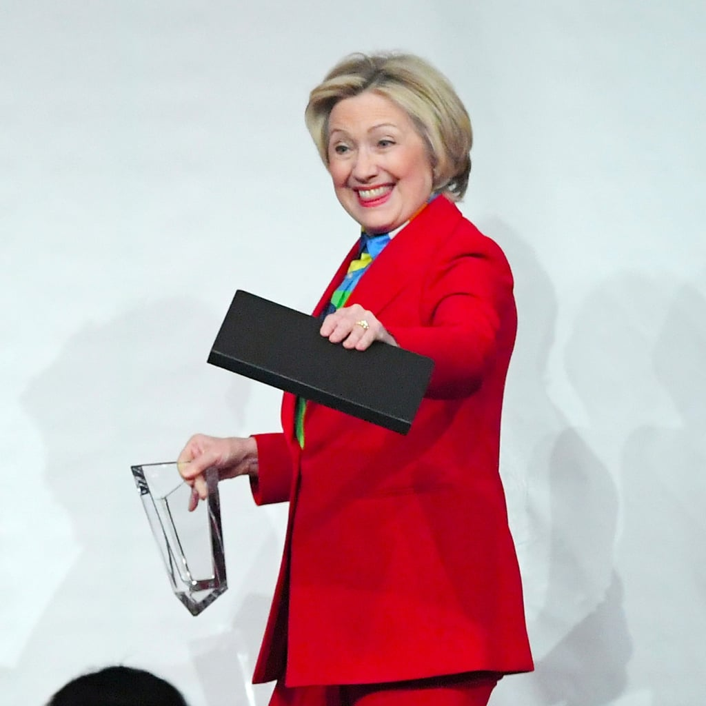 Hillary Clinton Red Pantsuit at 2017 Girls Inc. Luncheon