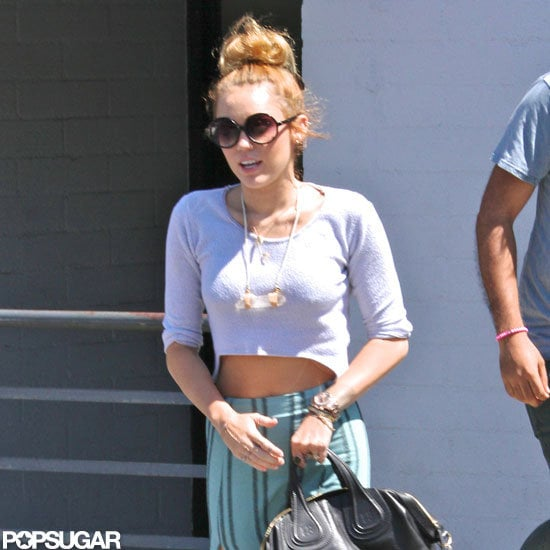 Miley Cyrus wore her engagement ring in LA.