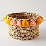 Anthropologie Tasseled Basket
