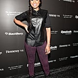 Jennifer Hudson's leather top and plum jeans punched up the cool factor on her Winter-dressing MO.