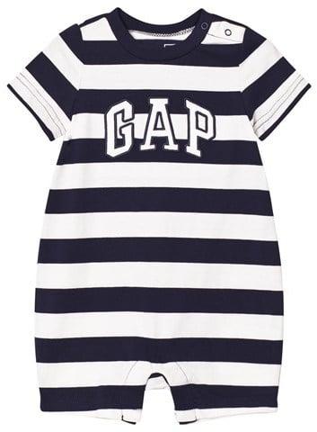 Gap Navy and White Stripe Logo Short Onesie ($18)