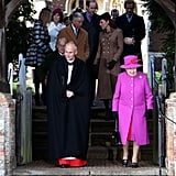 Prince Charles and Kate paired off to walk side by side among the royal family after Christmas services in 2014.