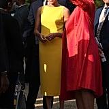 Meghan Markle Yellow Brandon Maxwell Dress