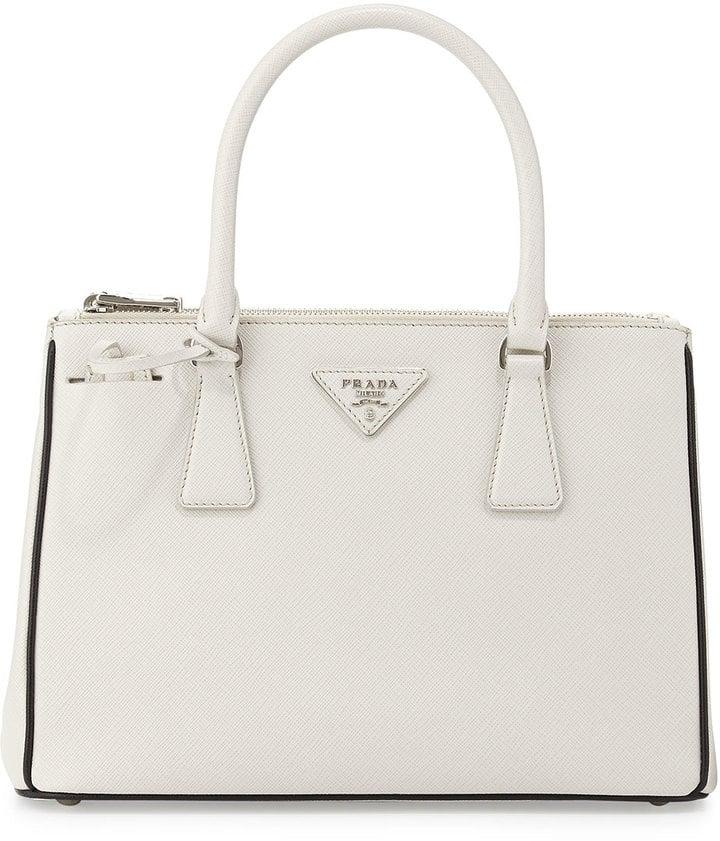 Prada Saffiano Lux Double-Zip Tote Bag, White/Black (Talco+Nero) ($2,100)