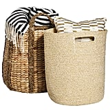 Braided Handle Basket ($35) and Metallic Woven Basket ($35)