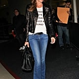 She Wore a White Graphic Tee With a Leather Jacket