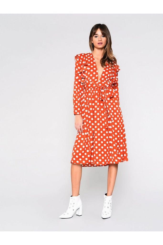 Polka Dot Midi Dress by Glamorous