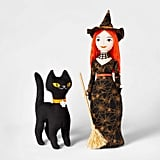 Witch and Cat Halloween Fabric Figures
