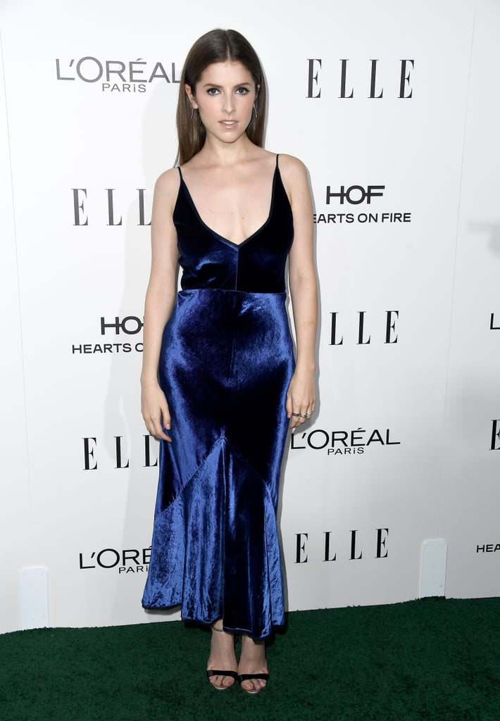 Anna Kept Up the Velvet Theme, Wearing a Strappy Gown to the Elle Women in Hollywood Awards