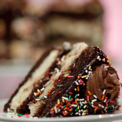 Confetti Cookie Dough Brownie Cake