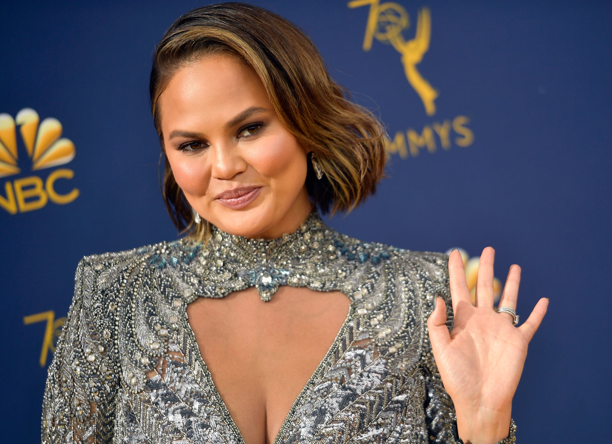 LOS ANGELES, CA - SEPTEMBER 17:  Chrissy Teigen attends the 70th Emmy Awards at Microsoft Theatre on September 17, 2018 in Los Angeles, California.  (Photo by Matt Winkelmeyer/Getty Images)