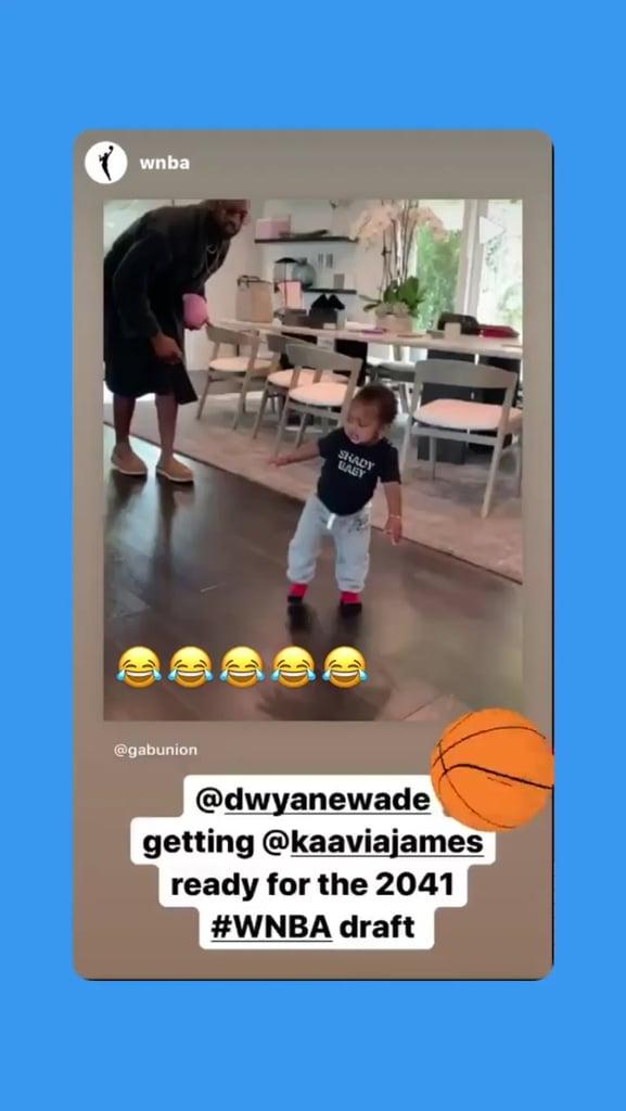 Video of Dwyane Wade Playing Basketball With Daughter Kaavia