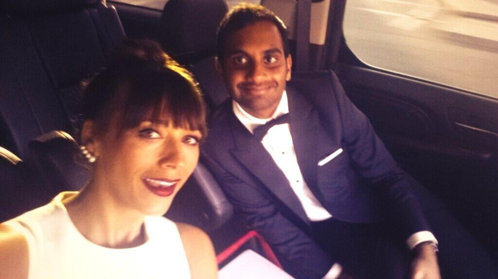 Rashida Jones snapped a selfie with Aziz Ansari on their way to the Golden Globes. Source: Twitter user iamrashidajones