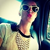 Hilary Rhoda gave a smooch to her fans while headed to an event in NYC. Source: Instagram user hilaryhrhoda