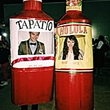 All you need for these simple bottle costumes is cardboard, tape, and spray paint. DIY at its best!