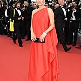 Kate Moss wowed in a one-shouldered vintage Halston gown at the Loving premiere.