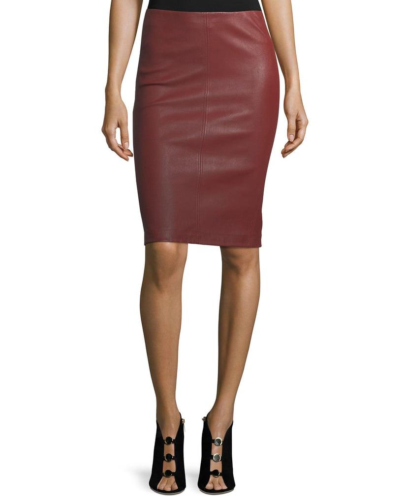 Neiman Marcus Maroon Leather Pencil Skirt