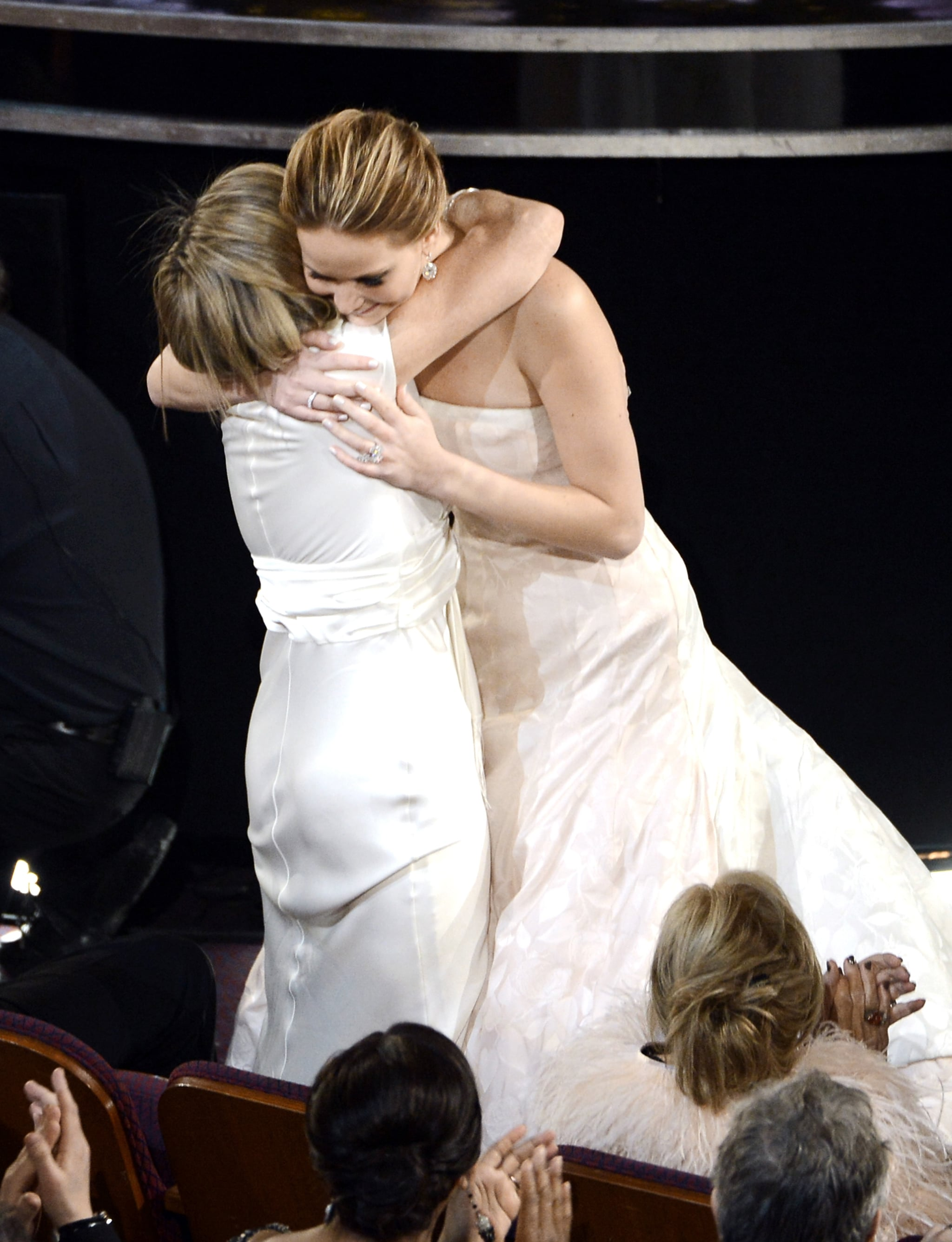 Jennifer Lawrence hugged her mom, Karen, after she won best actress Sunday night at the Oscars.