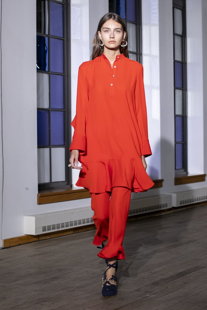 A Red Dress Over Pants on the Adeam Runway During New York Fashion Week