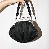 Vintage Black Micro Pleat Handbag With Satin Beaded Handle