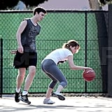 Jennifer dribbled close to the court.