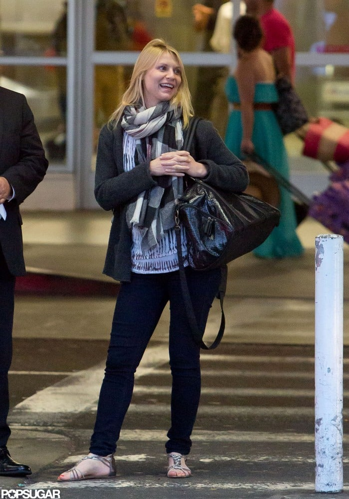 Claire Danes smiled at LAX.